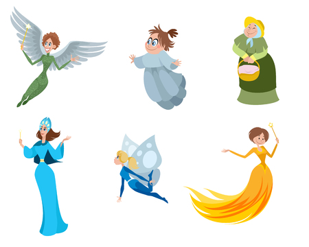 Vector illustration of a set of fairies Stock Illustratie