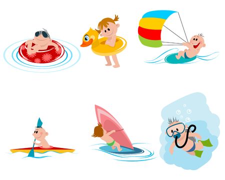 Vector illustration of six children on the water Ilustração