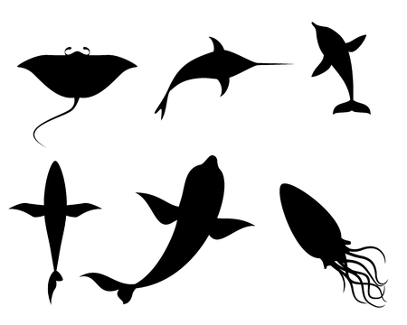 Vector illustration of silhouettes of sea creatures