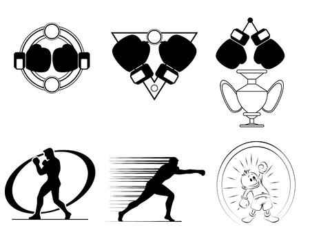 Vector illustration of six boxing club logos