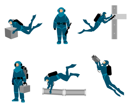 Vector illustration of six working divers on white background