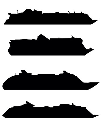 Vector illustration of silhouettes of large cruise ships