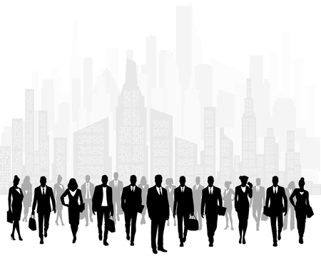 Vector illustration of group of businessmen on background of city