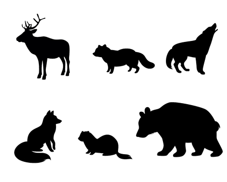 Vector illustration of silhouettes of animals of the tundra