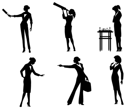 Vector illustration of business lady silhouettes in action Ilustração