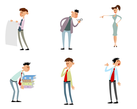 Vector illustration of set of  funny characters in action