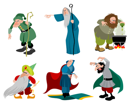 Vector illustration of a set of six evil sorcerers Stock Illustratie