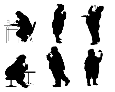Vector illustration of silhouettes of full people with food