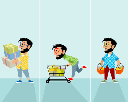 Vector illustration of hipsters in the store Ilustração