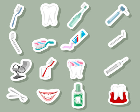 Vector illustration of dental icons on grey background