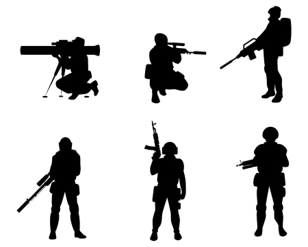 Vector illustration of equipped military with weapons Imagens - 126513492