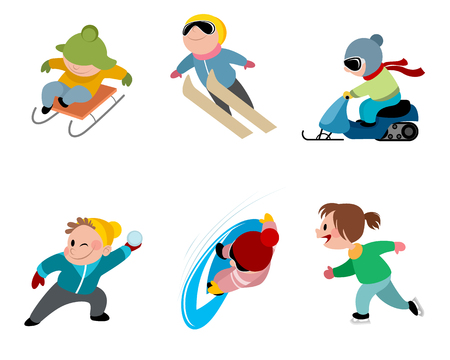 Vector illustration of children and winter games Ilustração