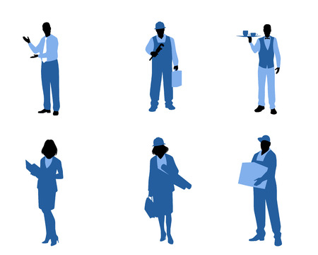 Vector illustration of silhouettes of people of different professions Ilustração