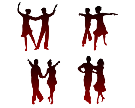 Vector illustration of silhouettes of dancing couples