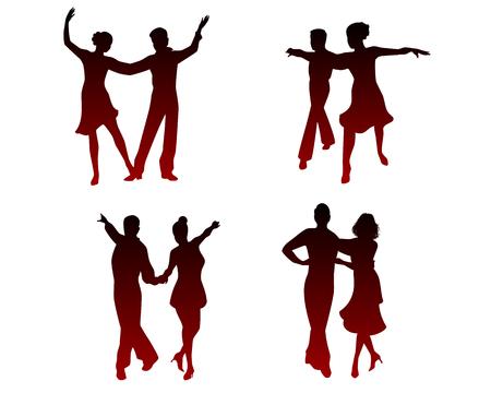 Vector illustration of silhouettes of dancing couples Ilustração
