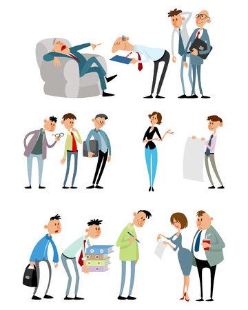 Vector illustration of three working situations with funny characters