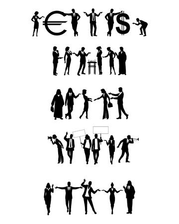 Illustration vectorielle de groupes de gens d'affaires en action