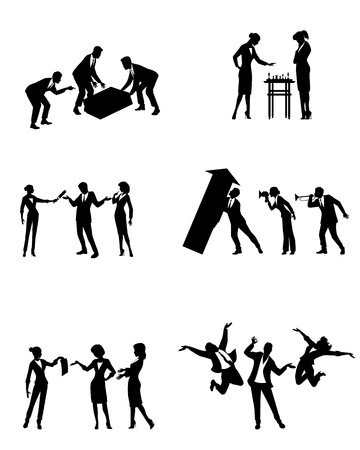 Vector illustration of scenes of business people in action