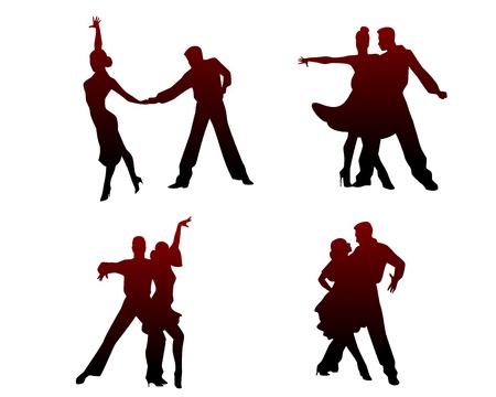 Vector illustration of silhouettes of four dancing couples Ilustração