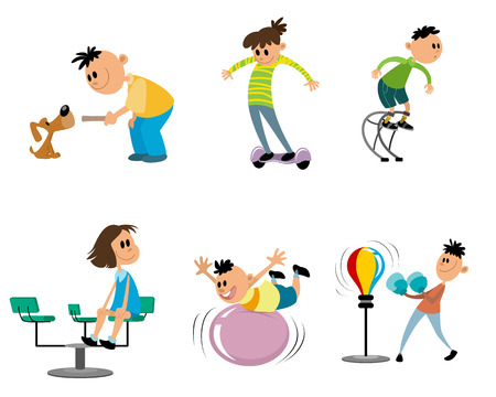 Vector illustration of set of children on the playground