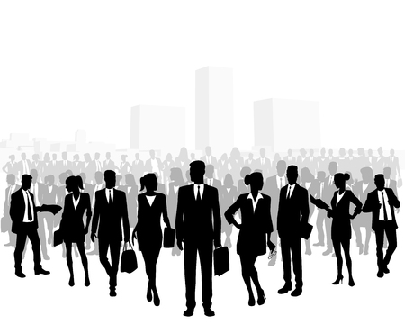 Vector illustration of a huge crowd of business people