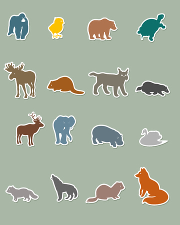 Vector illustration of a set of colored animal silhouettes Çizim