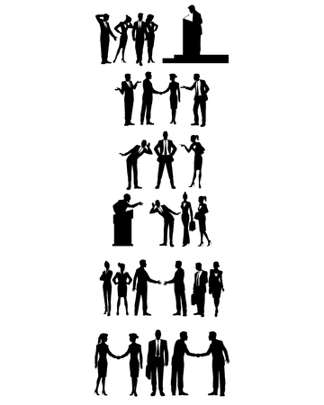 Vector illustration of six groups of business people