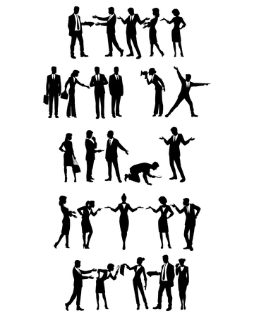 Vector illustration of groups of business people in action Çizim
