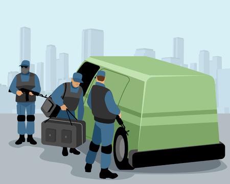 Vector illustration of collectors guarding a car with money Ilustração