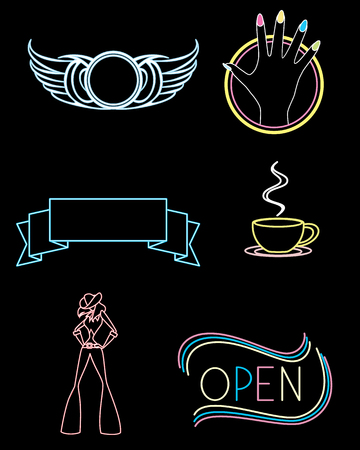 Vector illustration of set of signs of different institutions