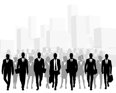 Vector illustration of crowd of business people in big city