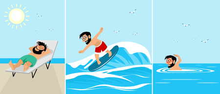 Vector illustration of hipsters on the sea