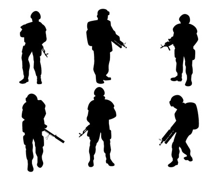 Vector illustration of equipped military with weapons