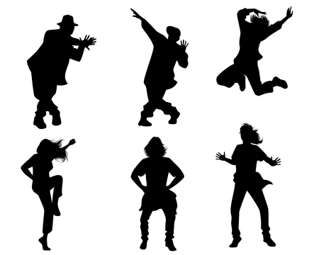 Vector illustration of silhouettes of dancing people