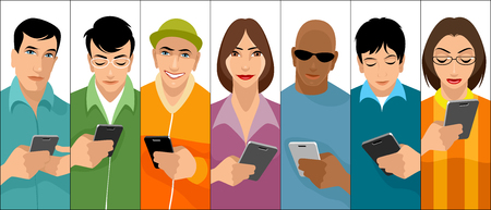 Vector illustration of young people with cell phones Ilustração