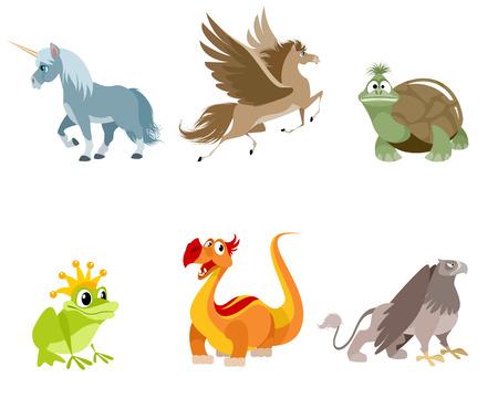 Set of fabulous mythology creatures
