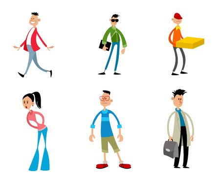 Vector illustration of six trendy funny cartoon characters
