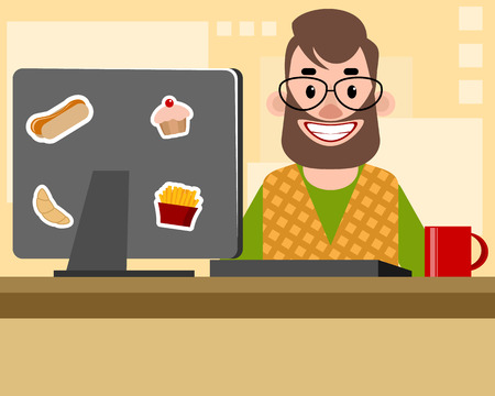 Vector illustration of a bearded man in the office