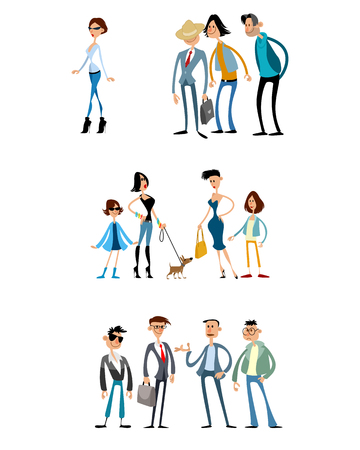 Vector illustration of three different scenes with funny characters