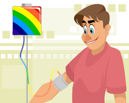 Vector illustration of a guy and colored blood transfusion