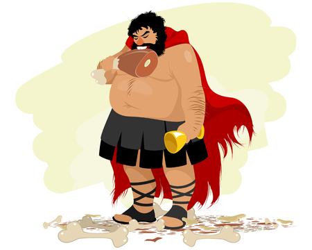 Vector illustration of a caricature of an obese Spartan Ilustração