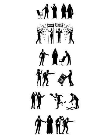 Vector illustration of groups of business people in action Ilustração