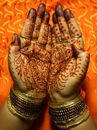 Hands with Henna design photo