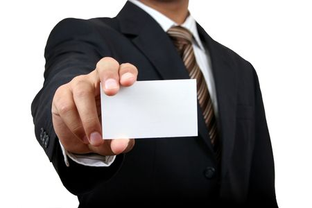 holding business card: Business man holding name card with clipping path Stock Photo