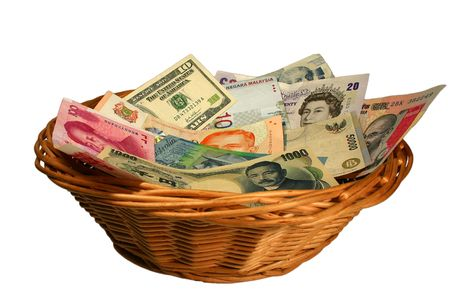 foreign currency: Basket of Currencies Stock Photo