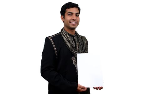 kurta: Indian in traditional clothes holding a white board in hand (1) clipping path avaliable