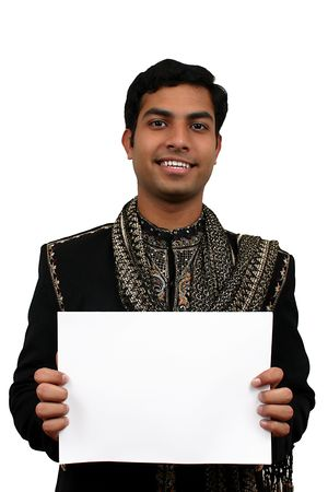 kurta: Indian in traditional clothes holding a white board in hand (2) clipping path avaliable