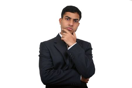 Indian business man in thinking pose (2) with clipping path Stock Photo