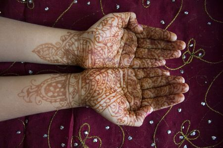 subcontinent: Hands with Henna Design Stock Photo