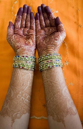 subcontinent: Hands of a Indian bride with henna design and bangles